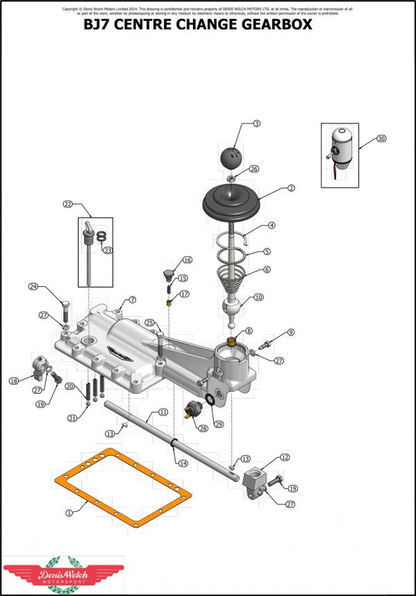 BJ7 External Assemblies Gearbox Centre Change